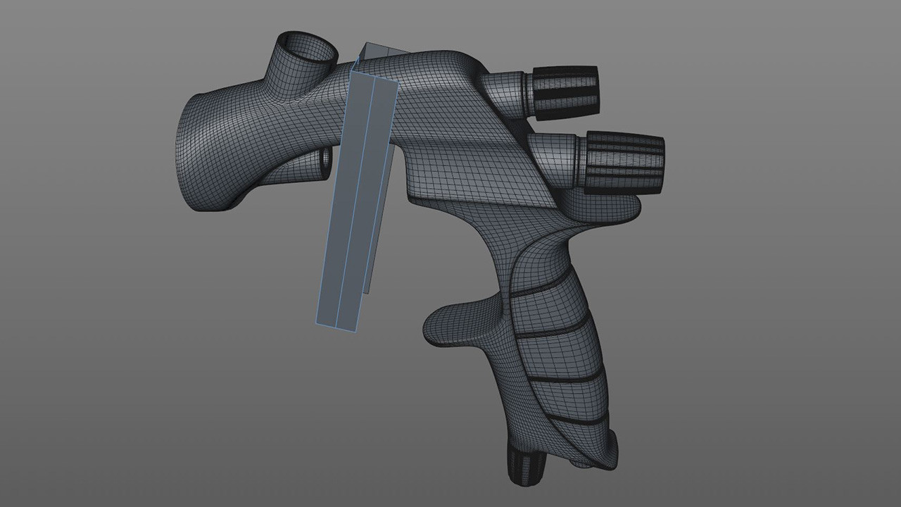 The trigger started out as a cube object placed in Symmetry. Correct approach is everything in modelling; you want to choose the fastest and most efficient approach for every part of the model.