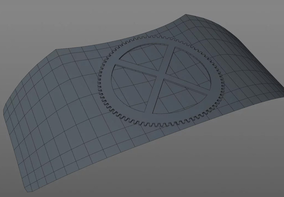 It was then extruded and curved into the shape of the plate section using the Shrink Wrap deformer.