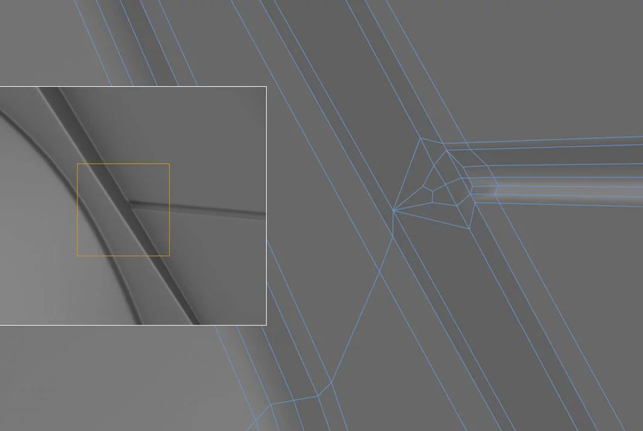 Adding in these kinds of details under subdivision with curved sections requires creative sharpening solutions, as any extra edges would have messed up the curvature.