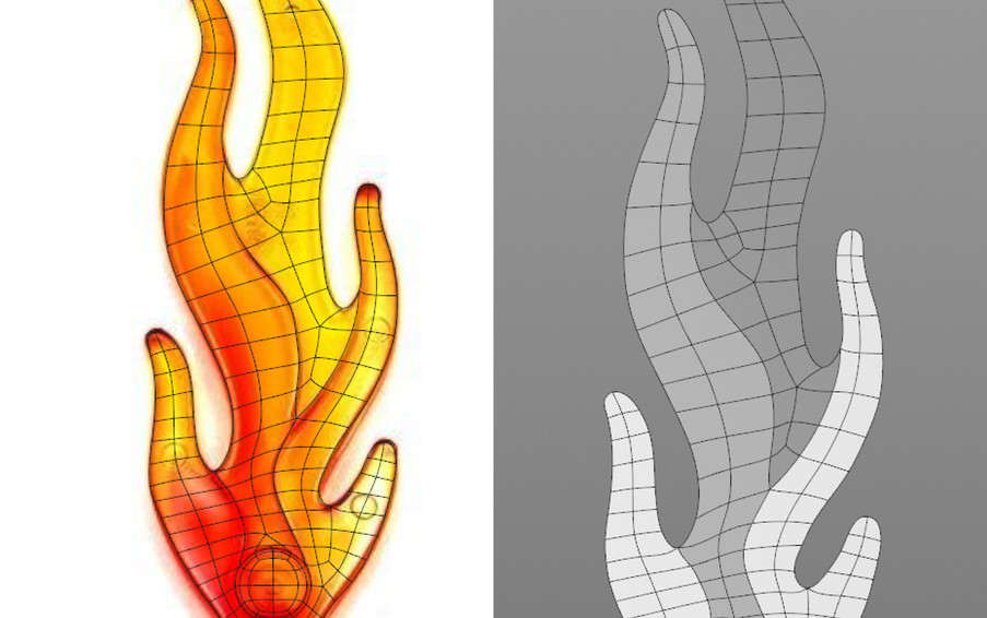 Initial topology for the flame. I started at the bottom with a Disk object then used the Polygon Pen to draw in the geometry. Need to add edge loops next then extrusions.