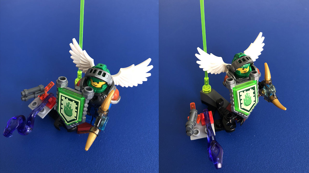 The original Lego character built from a combination of Nexo Knight and Ninjago pieces. The final model didn't include some of the peripheral pieces including the snake.