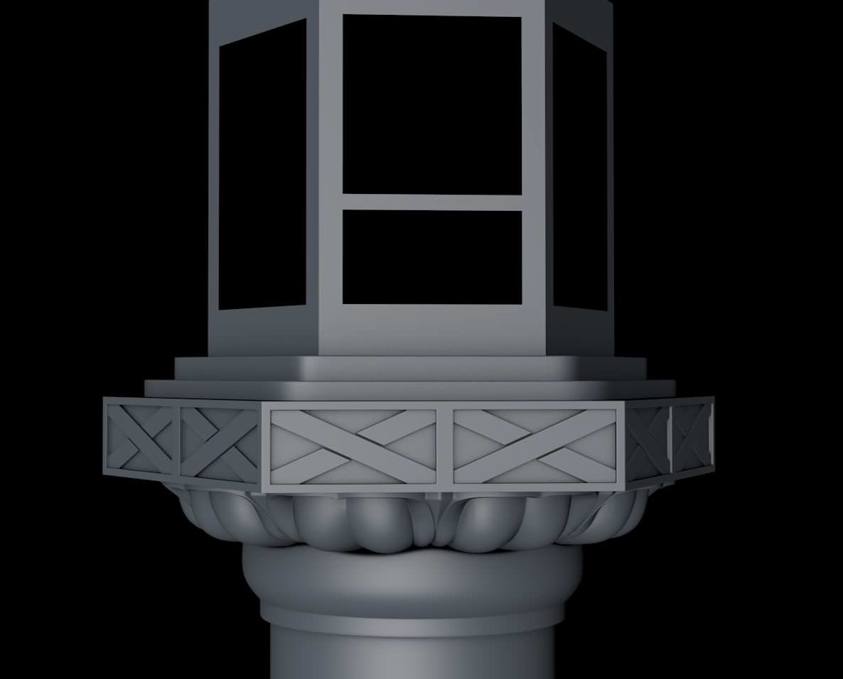 A 6 sided Cylinder object was the starting point for the main lantern section (Hibukuro). Windows were cut in by selecting polygons and using the Extrude Inner tool then deleting the resulting geometry.