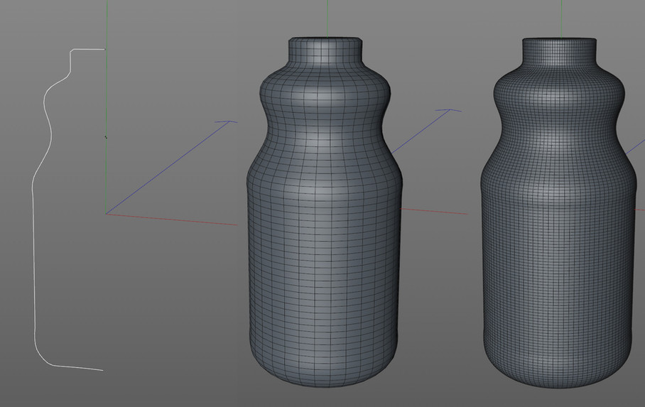 Spline created in Adobe Illustrator, merged into Cinema 4D with a Lathe object to create a precise template for shrink wrapping geometry onto.