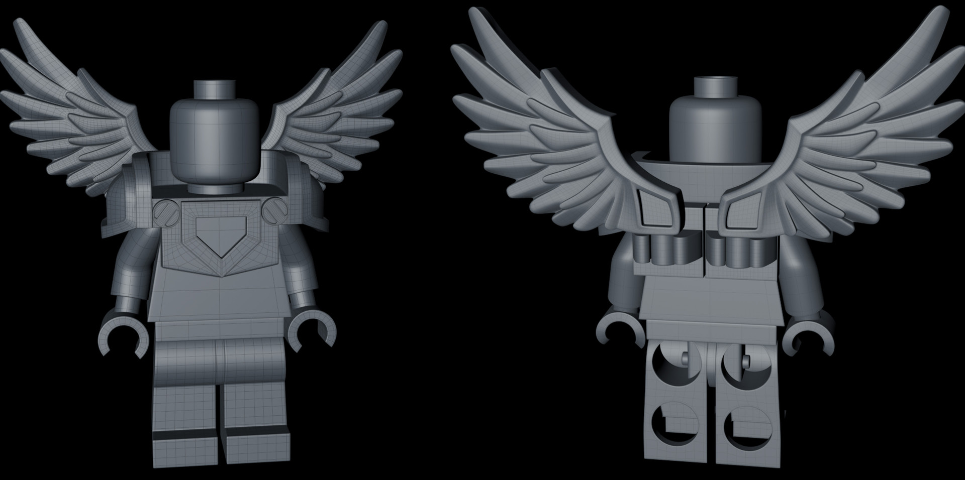 The head started out as a Cylinder object and the torso as a Cube object. Starting to look good with the wings in place!