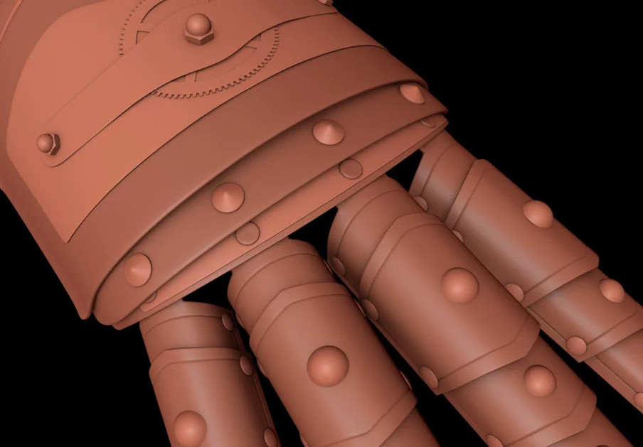 Knuckle studs and rivets were added using HB Modelling Tools Paste script.