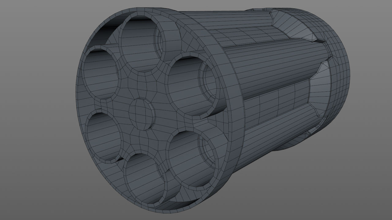 The next step was to connect the barrels to the front part of the cylinder, which was split off the main cylinder section. To do that I used Connect & Delete to combine the front of the barrels with the front of the cylinder and the Bridge tool to add in the connecting geometry.