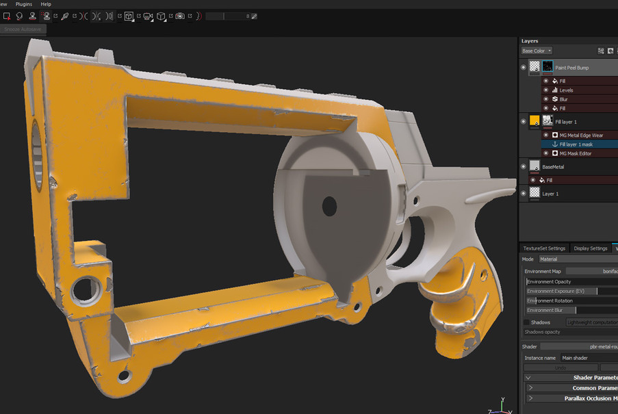 In Substance Painter I decided to create the look of a actual weapon but with Nerf colours. The new Anchor Point system helps to create the pealed paint.
