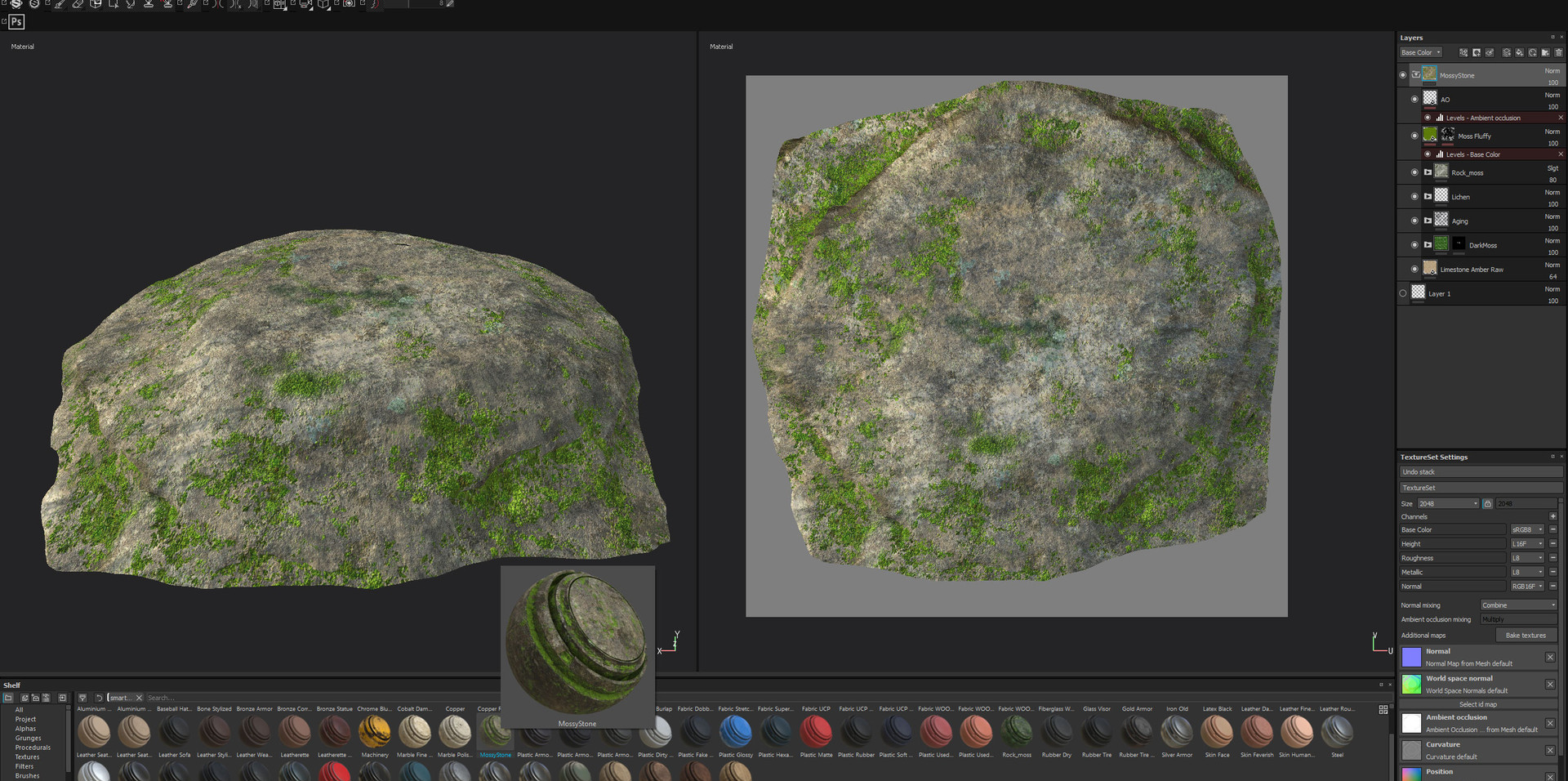 To create the rock at the base of the lantern I used Forester for Cinema 4D which has a handy rock generator. The texture is the same one as the lantern, which I simply saved as a Smart Material in Substance Painter and applied to the rock (which I unwrapped in 3D Coat first).