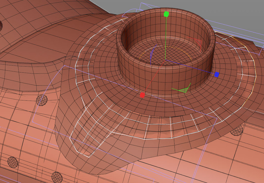 Rather than trying to bend the metal section of the plate using Bend deformers, it was much faster and more precise to use a Shrink Wrap deformer with the leather section as the target object. Using deformers in this way allows you keep the geometry parametric and fine tune the shape rather than tweaking points, edges and polygons.