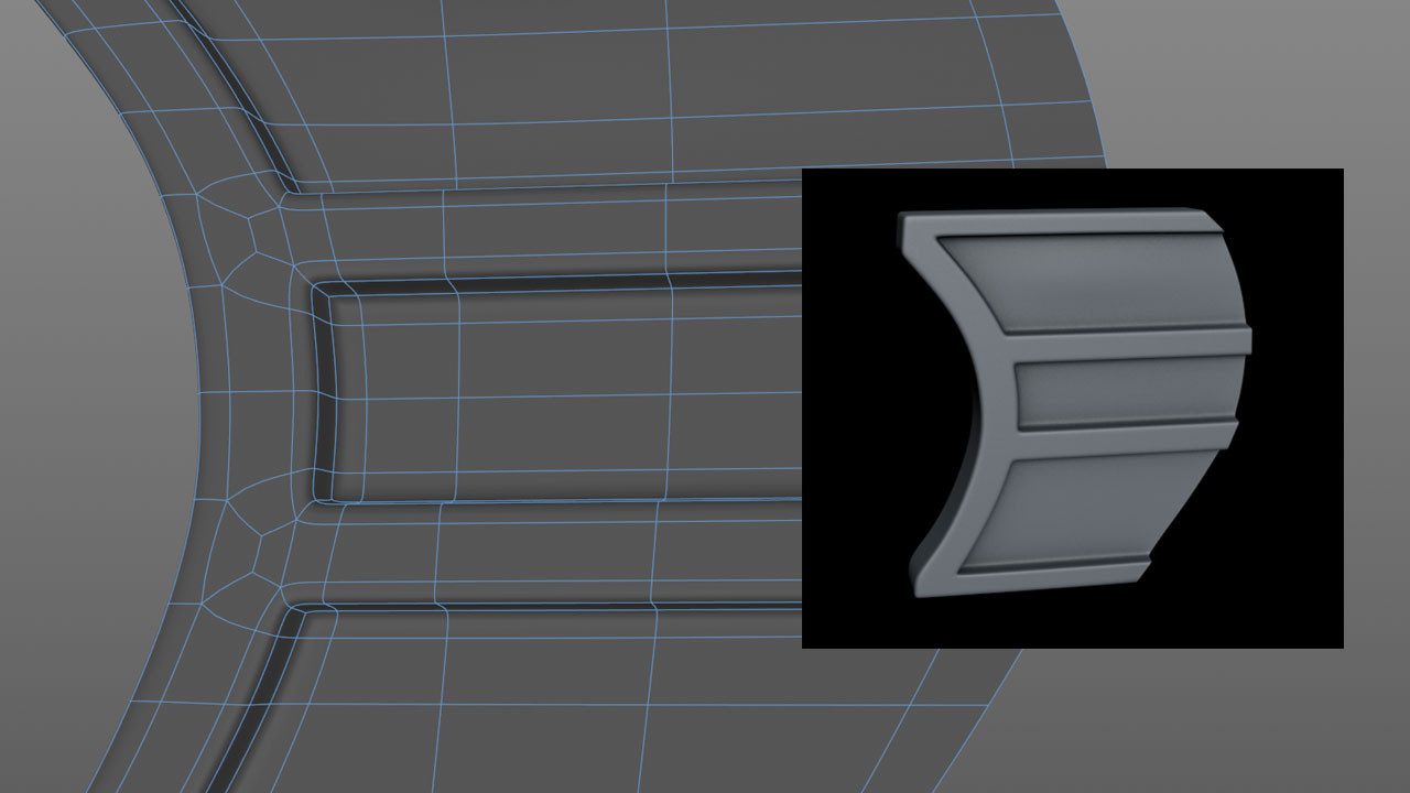 The trigger was once again modelled flat then extruded.