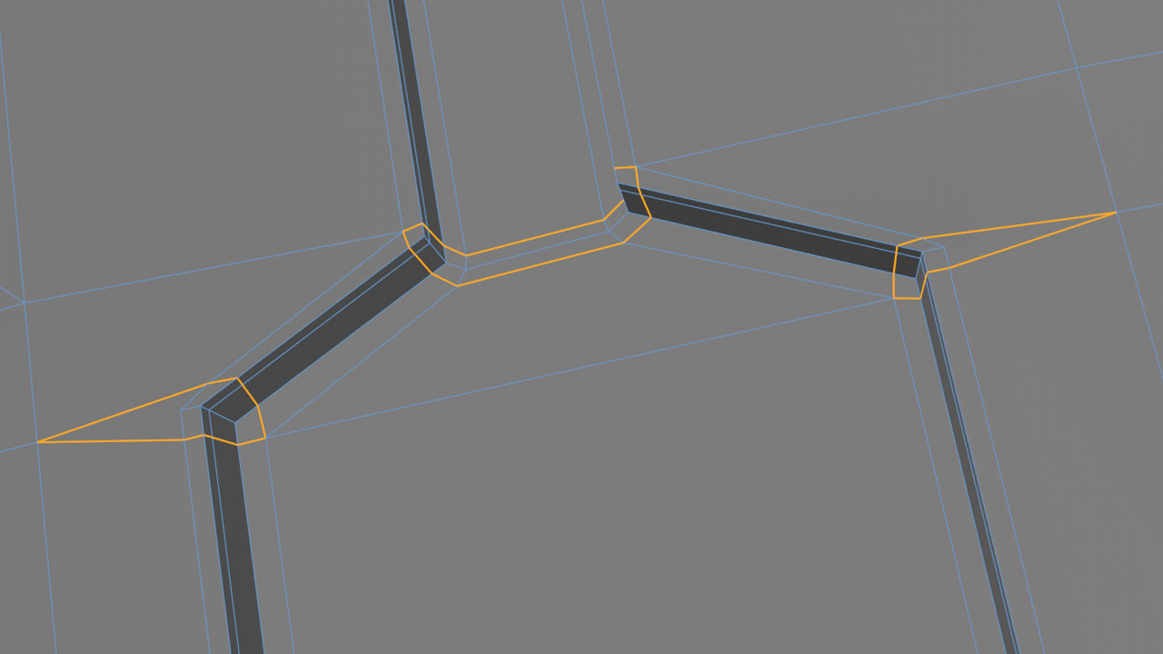 A few more simple loops to finish this detail. Simple loops such as these avoid propagating cuts across other sections of the model, which might mess with curvature or cause issues later down the line.
