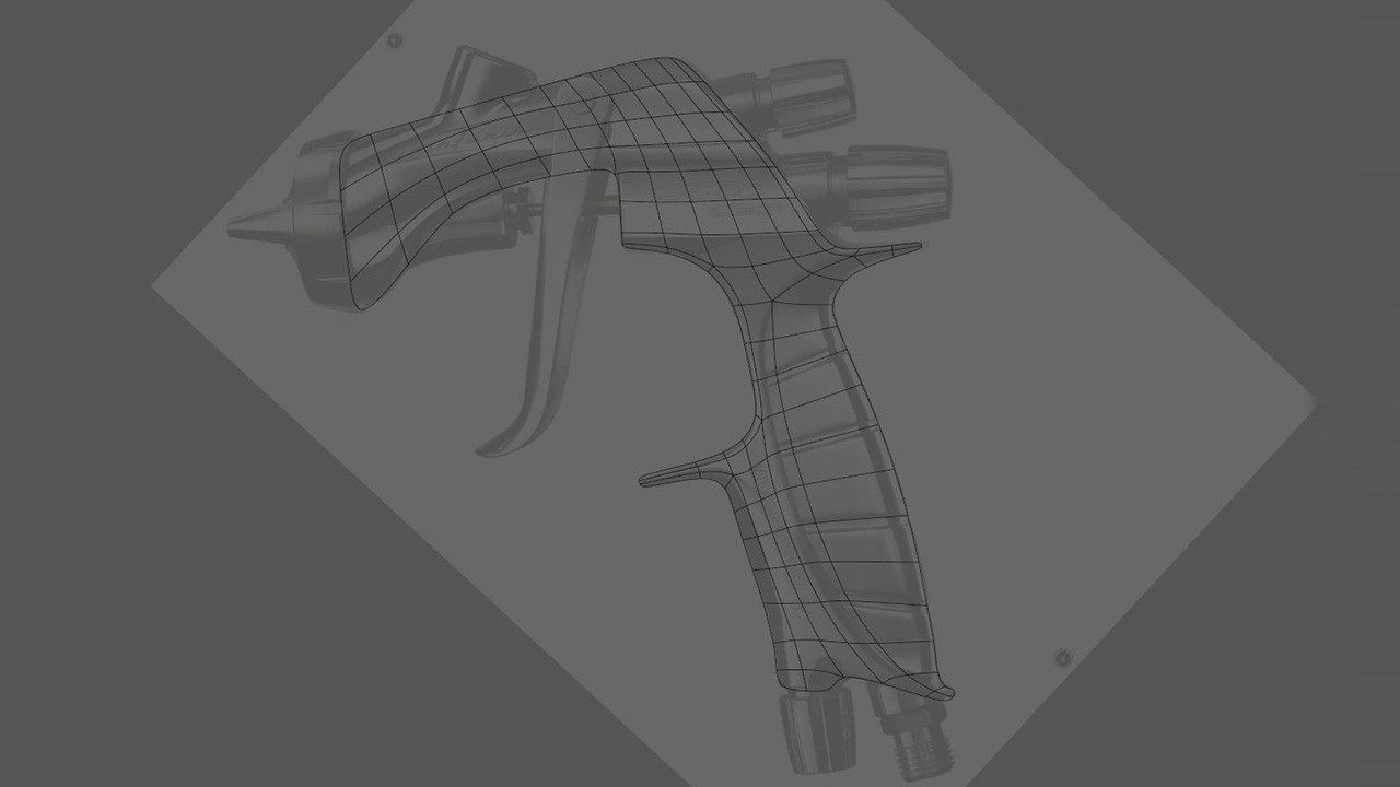 The main body of the gun was modelled flat using the Polygon Pen tool, compensating for the slight perspective in the template image.