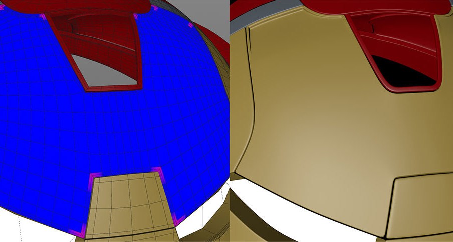 Fixed the pinching around the eyes by doubling the subdivision on that plate, weighting the corner points, making that editable then adding further weighting to the result. No control cuts necessary. It's definitely not a one-size-fits-all when it comes to choosing a subdivision level, each section has to be approached individually. Only after this step did I add extrusion, being sure to select the internal faces and delete them since they won't be seen.