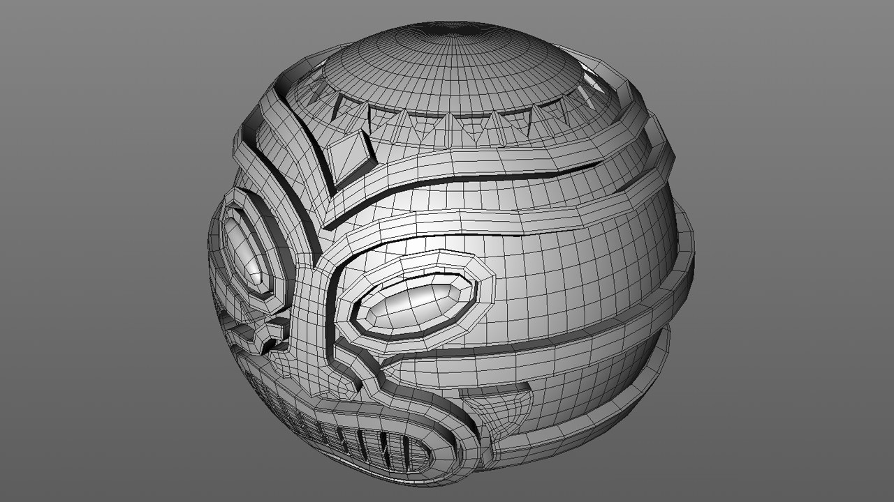 Once the face and internal sphere we complete there were some obvious gaps that needed to be filled.