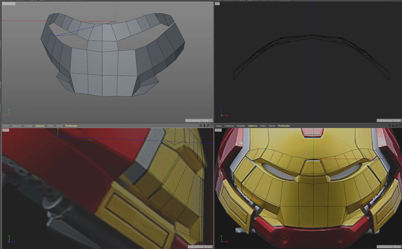 Starting with Hulkbuster helmet toy, using this front and side view.