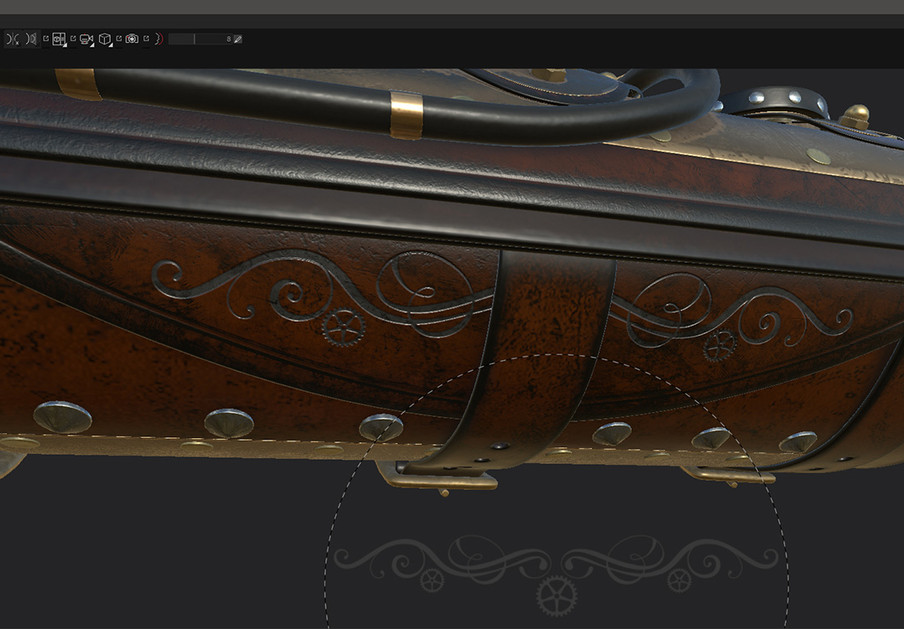 Extra details were added using custom alpha brushes, created by combining key art in Adobe Illustrator. This height detail needs to be baked into the Normal map followed by a re-baking of the Ambient Occlusion and Curvature maps in order for the new height details to be included in the AO and Curvature maps. I learned that it's generally good practice to add all of your height detail at the start of the project, then bake it into the Normal map. I didn't do that and had to go back and find all of the layers that had height detail and turn them off once they had been baked into the Normal map, otherwise they would be doubling up on the height detail.