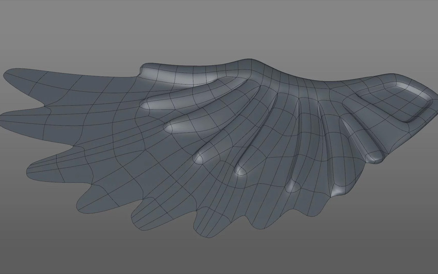 Next I selected the inner feather polygons and extruded upwards…