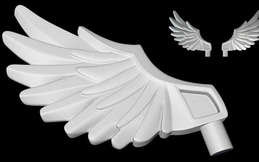 The most time was spent adjusting the topology to give the feathers separation once the sharpening cuts were introduced.