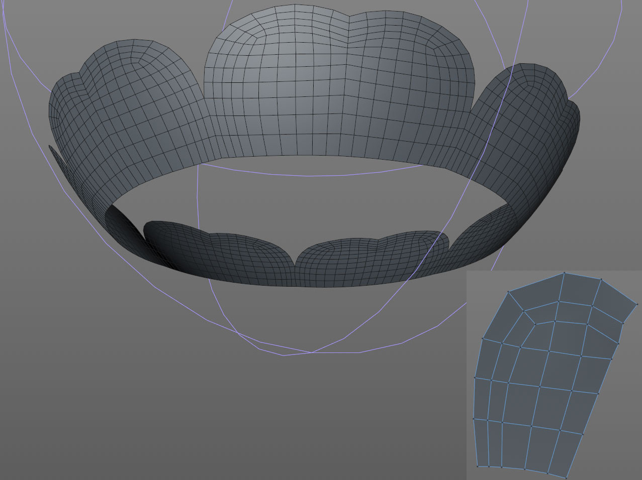 I adjusted the topology by pushing points around to create the rounded tops.