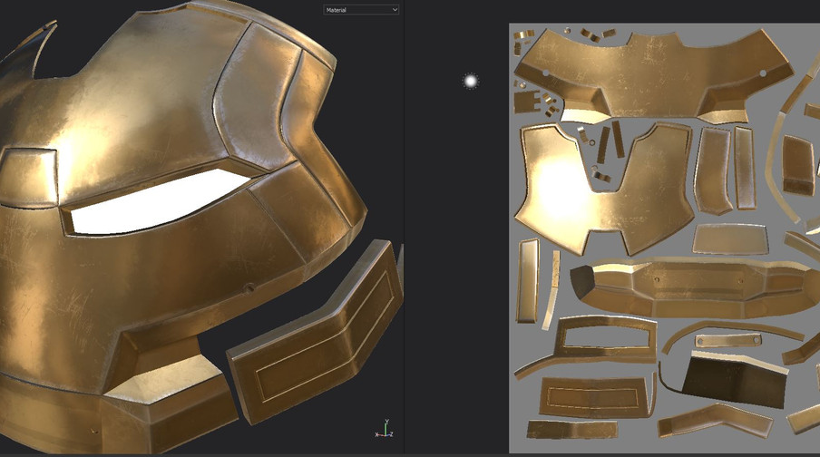 Some early gold material tests in Substance Painter.