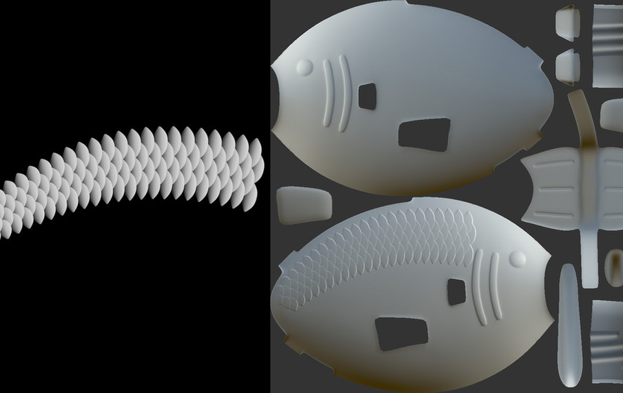 Created the geometry for the scale height map by modeling a single scale and duplicating using a Mograph Cloner object.