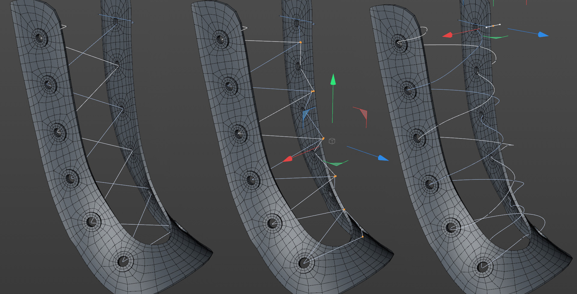 Starting the laces with linear splines to get the general positioning. Extra vertices added to pull the spline in front of the tongue. All vertices converted to soft interpolation and handles adjusted.