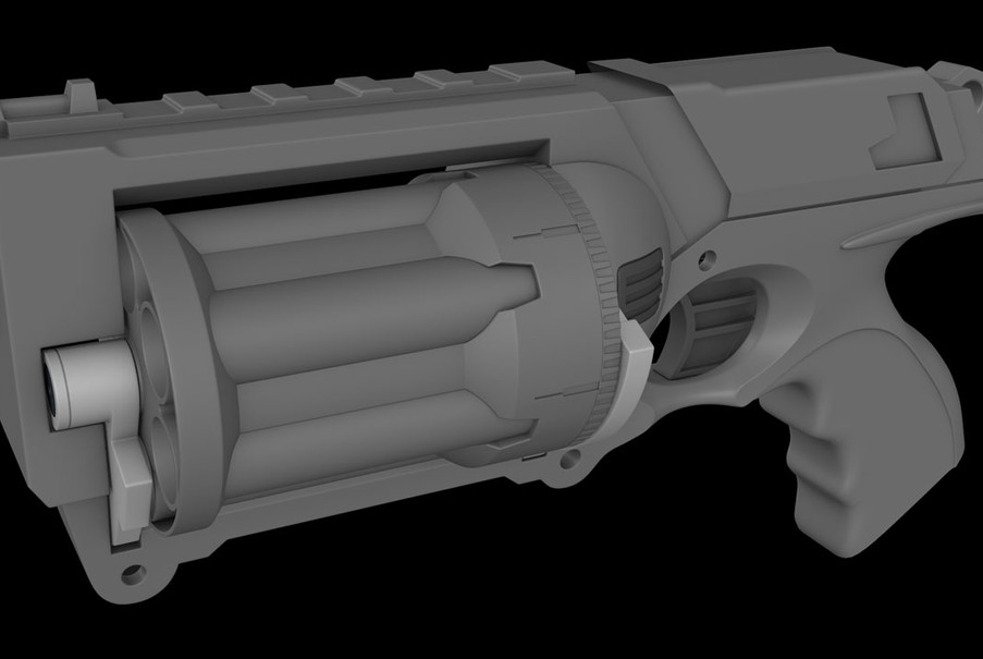 The front and back hinges complete, allowing the cylinder to rotate out for bullet loading.