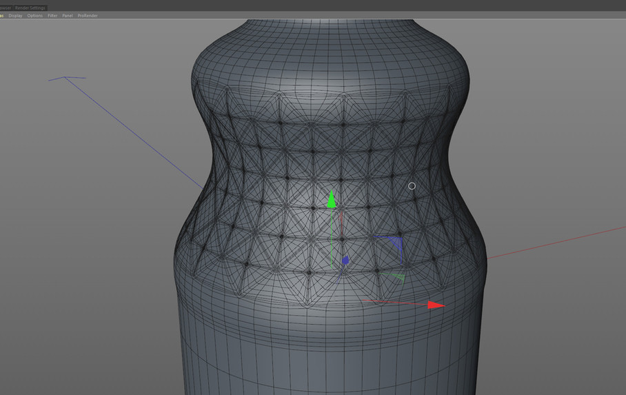 Subdivided once to increase the poly count while still under shrink wrap, for a smoother result.