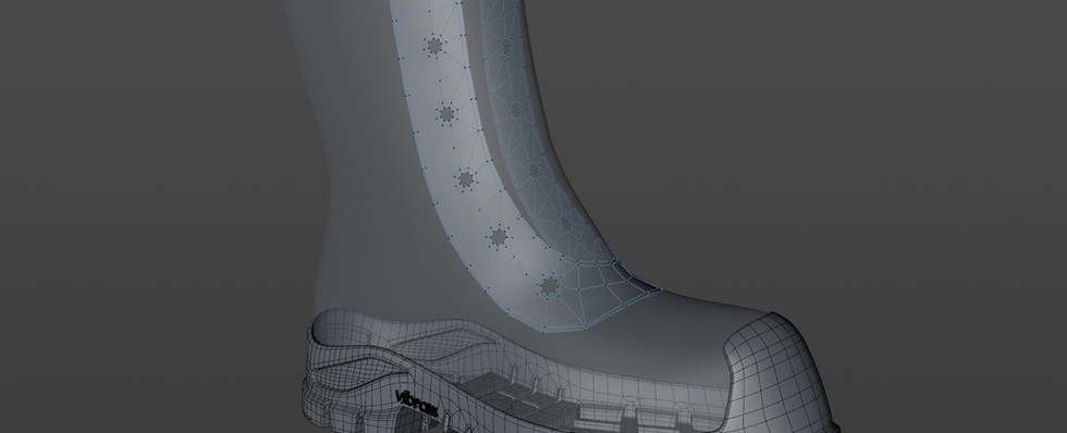 Added the eyelet panel using Shrink Wrap Deformer and Symmetry Object.