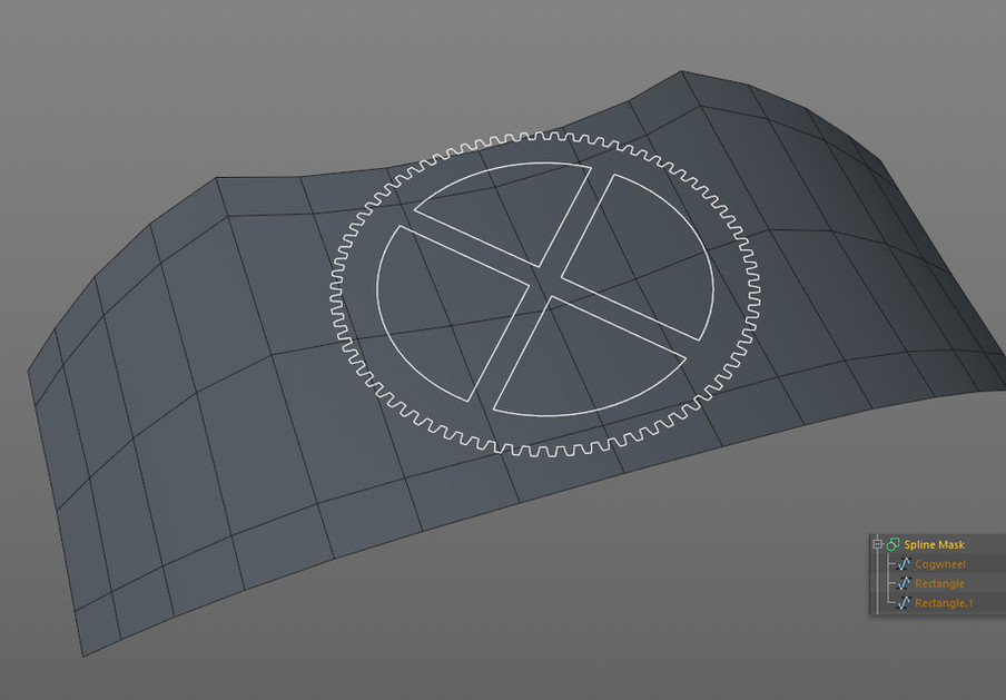 The gear was created by combining splines under a Spline Mask object.