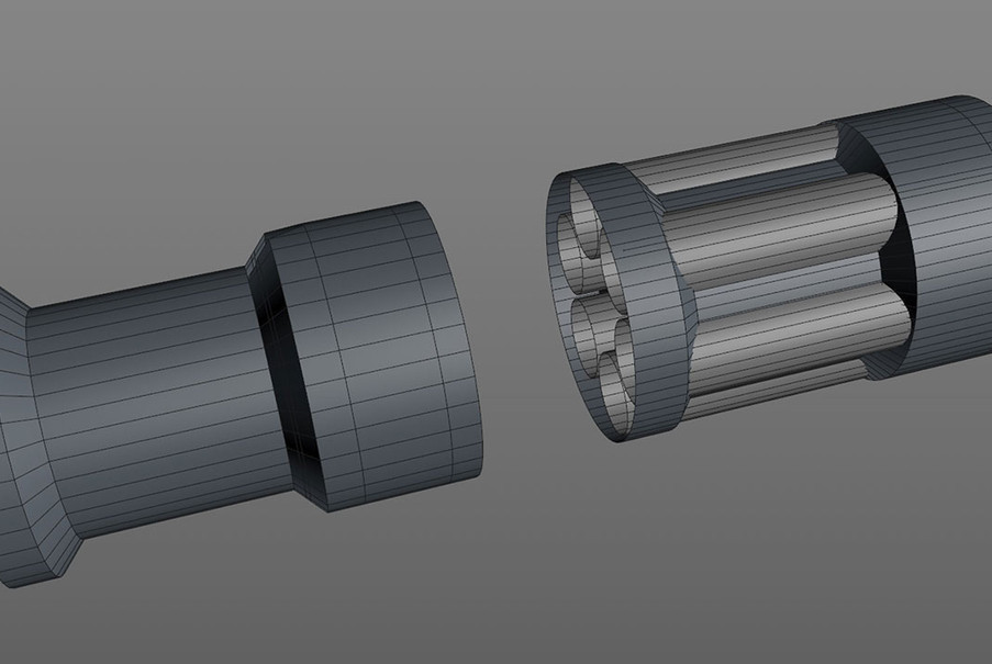 I started with the gun cylinder using a Cylinder Object. The initial cylinder (left) didn't have enough edges to allow for sharpening the cuts needed for the recesses, so I ended up going with 64 edges (right). These extra edges also ensure that when the barrels were in place (added using a Mograph Cloner in Radial mode) the edges where the objects intersect lined up fairly closely.