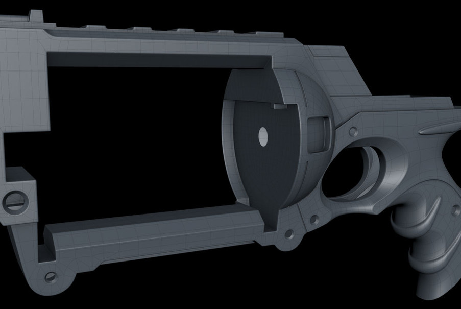 The main section of the gun is a single piece of geometry with only two triangles and no n-gons.