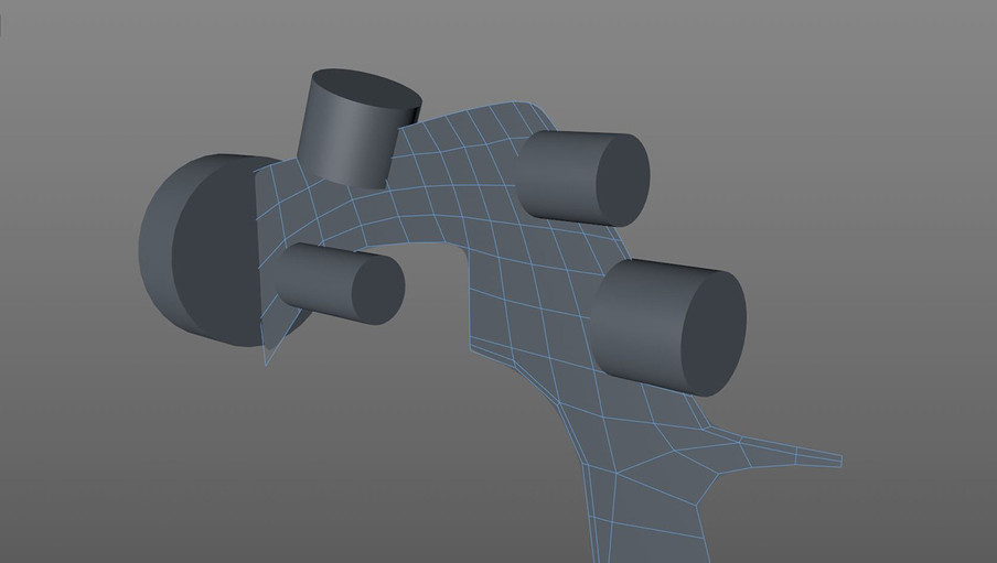 Cylinders were positioned and scaled based on the template image. With no top down view these provide an approximate depth guide and will be booled in later.