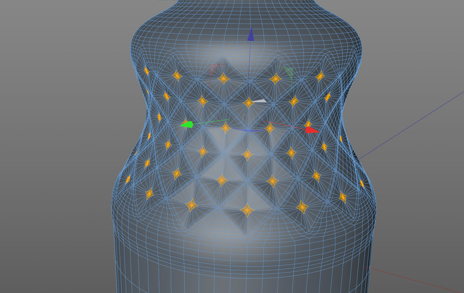 Knurling shape created using the Normal Move function.