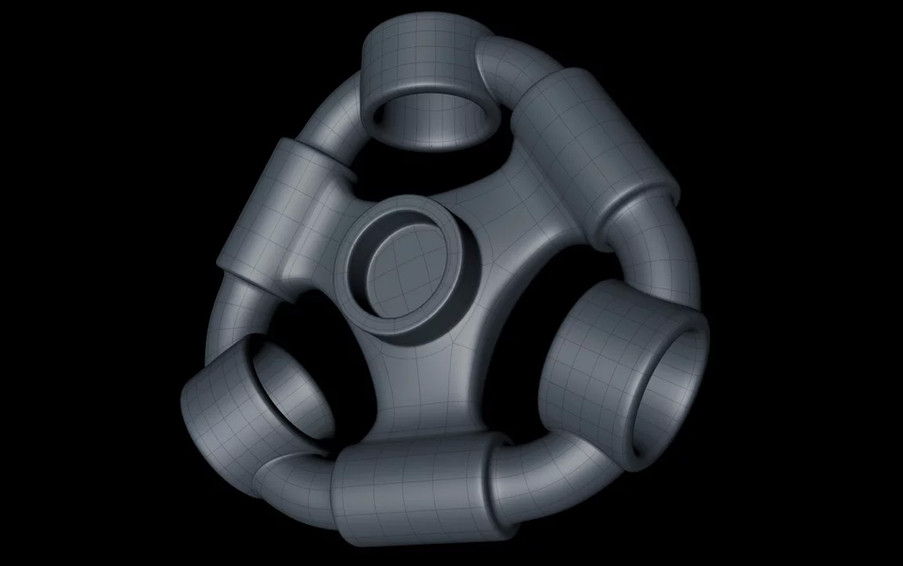 The final base shape was easy to create using a Mograph Cloner object in Radial mode, making that editable, then extruding out the middle ring.