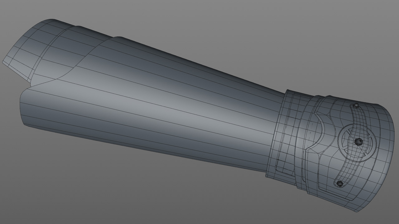 The forearm is also based on the original cylinder section. The main section was extruded and scaled into shape and the other sections were split off of the main section and adjusted.