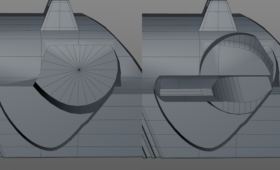 Blocked out the Safety Lever shape using booleans. Could have used Volumes but I find snapping to the clean edges that booleans provide gives a cleaner result when retopoing. Same approach for the safety lever inset in the slide. Makes it easy to adjust and ensure a snug fit before locking in the topology of the inset and the lever.