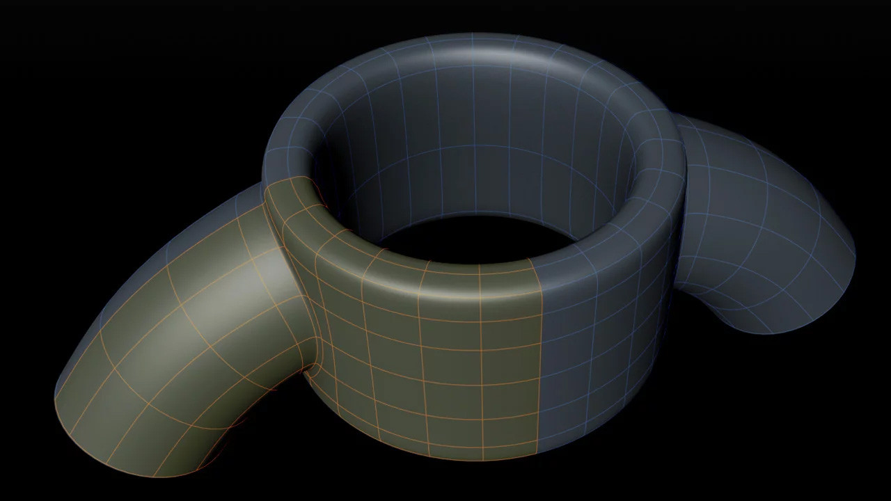 For the Aero Blade I started with a Cylinder object, working in double symmetry. The curved pipe started out as a Sweep objects which was made editable and welded onto the main cylinder.