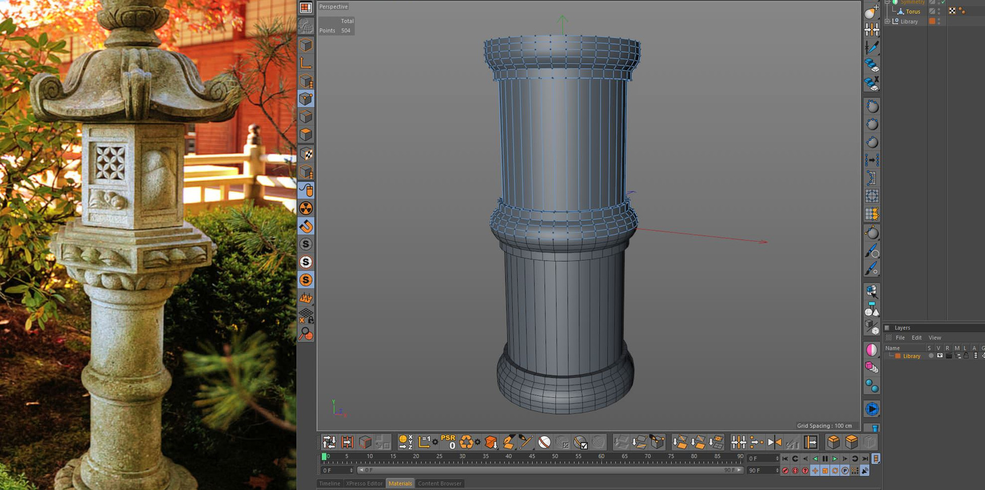 For the pillar (Sao) I used a Torus object as the starting point, with a Symmetry object to save time.