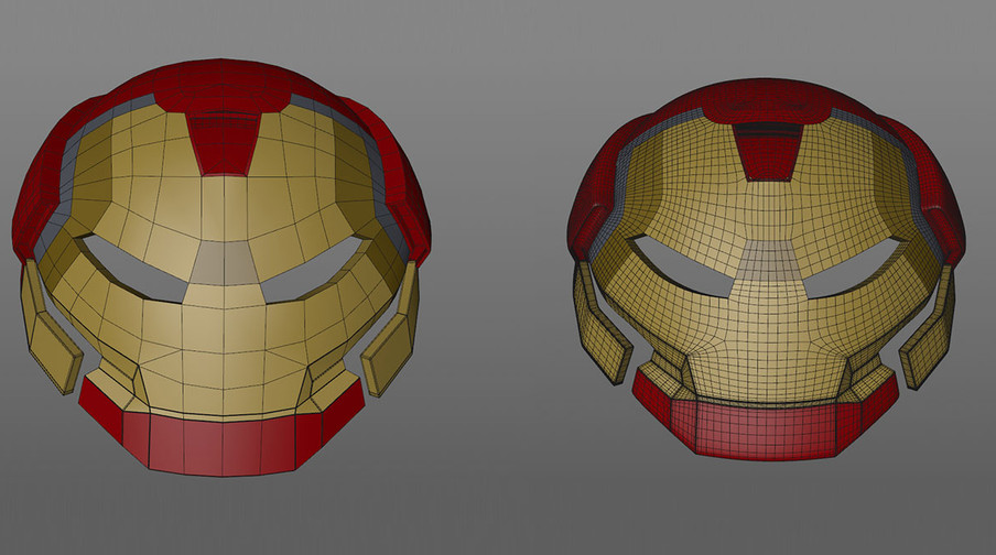 When an object has various panels, the topology needs to account for the separate panels to facilitate splitting them off cleanly. Only once the topology matches the panels should you start to split the model up. It's important to constantly view the model under subdivision to ensure the edges follow seams evenly. Once the topology was acceptable I weighted various points and edges and added some control cuts around the mouth (which I removed later and used weighting for that section too because I couldn't correct the resulting pinching). At this point I started splitting off the various panels and sharpening.