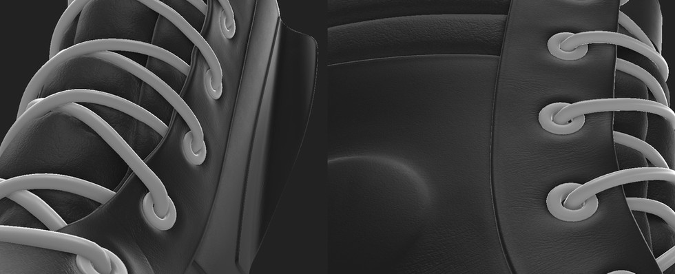 Fine height details added to the leather in Substance Painter.