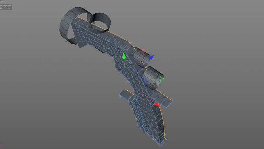 The main body was then extruded back on the Z axis and the cylinders made editable with no caps.