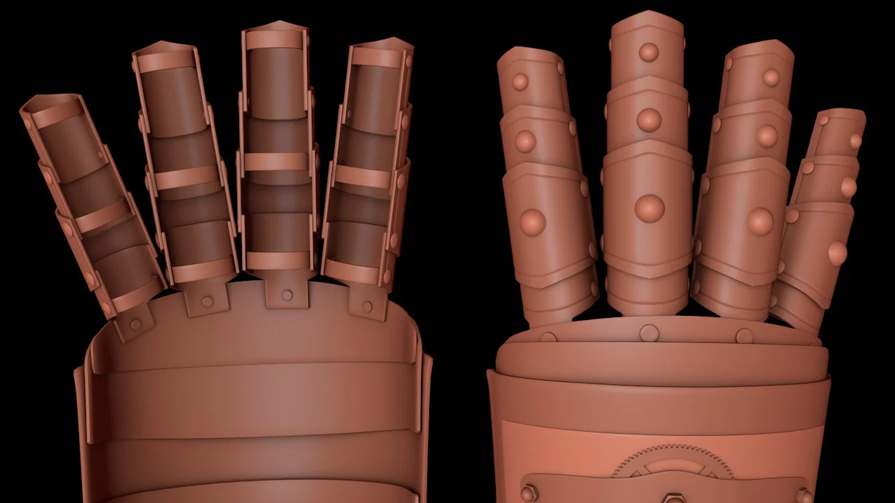 Once one finger was complete it was duplicated, scaled, rotated and positioned to create four fingers. I also added some rivets to connect the fingers to the hand section.