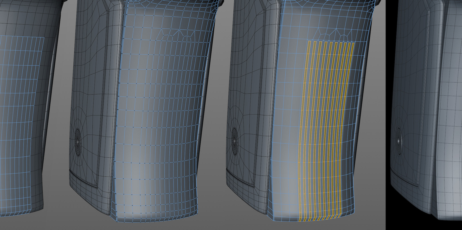 Rather than subdividing the entire frame to get more rows for this detail, I decided to stitch it in using some loops.