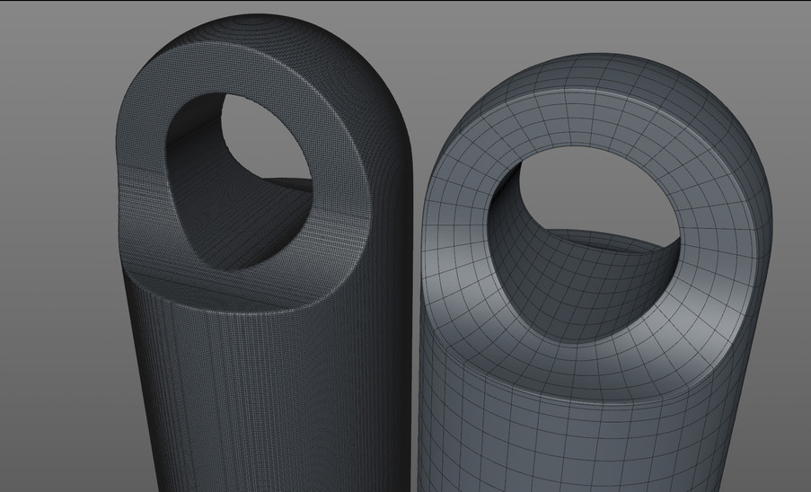 Volume modeling has it's uses but can't compare to sub-d when attention to detail is important. On the left is a high rez volume mesh (450K polys) and on the right is a sub-d version (924 polys).