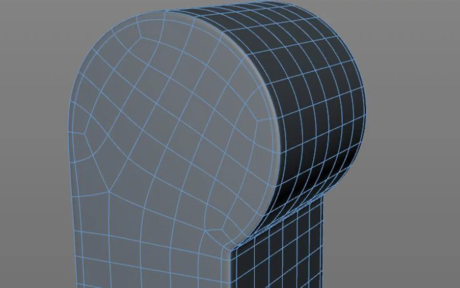 Adjusted topology to fix the pinching created by having the diamonds on the edges and to dispense with the extra control cut shown in the example above.