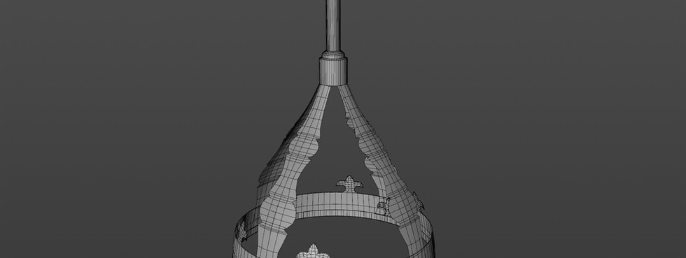 Shrink wrapped the various details to the base helmet, using Array object where possible to save time.