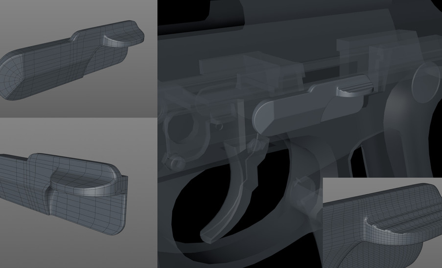 Slide Catch done. Added the ridge detail after making the base subdivided object editable.