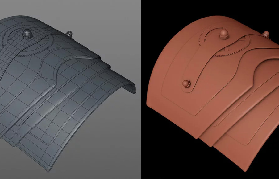 To create the other parts of the hand section I duplicated the original cylinder section, positioned, adjusted and extruded. Notice the points on the corners have been adjusted slightly to bend them outwards for added detail.