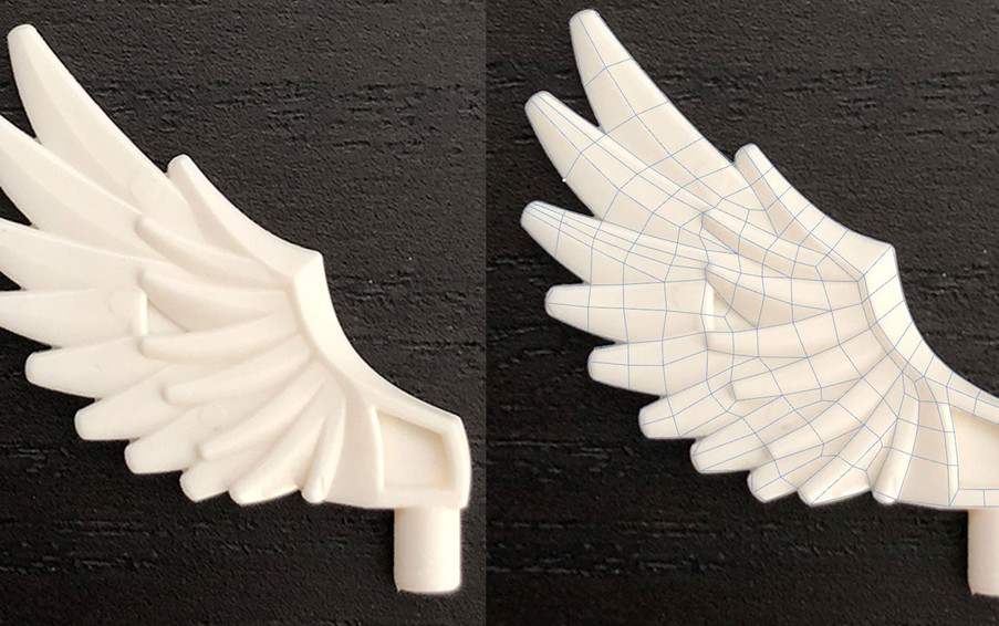 I decided to start with the wings, modelling flat to establish the base topology.
